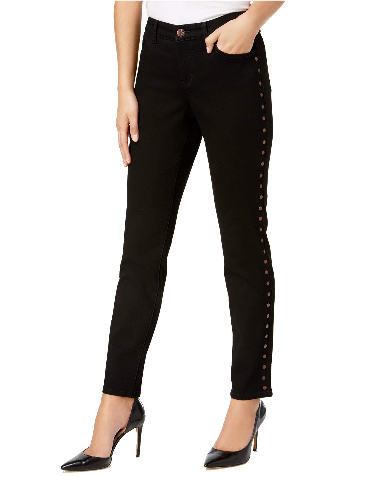 Style & Co.. Women's Curvy-Fit Embellished Skinny Jeans (Black Rinse, 18)