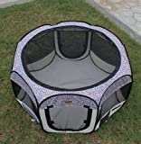 New Medium Pink Leopard Pet Dog Cat Tent Playpen Exercise Play Pen Soft Crate