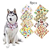 Rypet 8 Pcs Dog Bandana Triangle Puppy Bib Head Scarfs Accessories for Pet Cats and Puppies