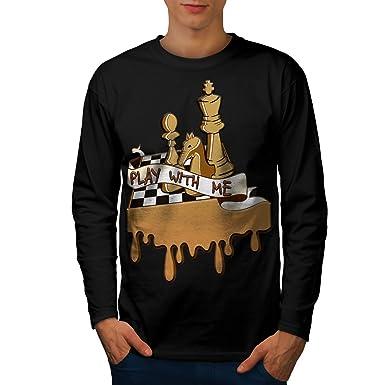 e588dfaf8 wellcoda Play Chess with Me Mens Long Sleeve T-Shirt, Game Graphic Print  Black