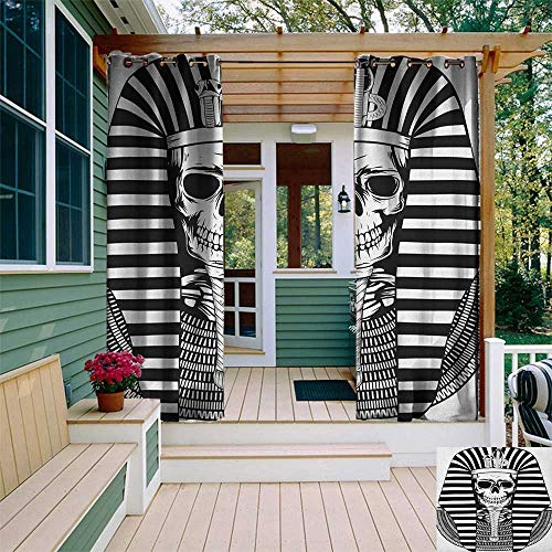 King, Outdoor Curtain of Lights, Egyptian Pharaoh Ruler Mummy Skull Skeleton Statue for Ancient Egypt Lovers Print, Fabric by The Yard W84 x L96 Inch Black and White]()