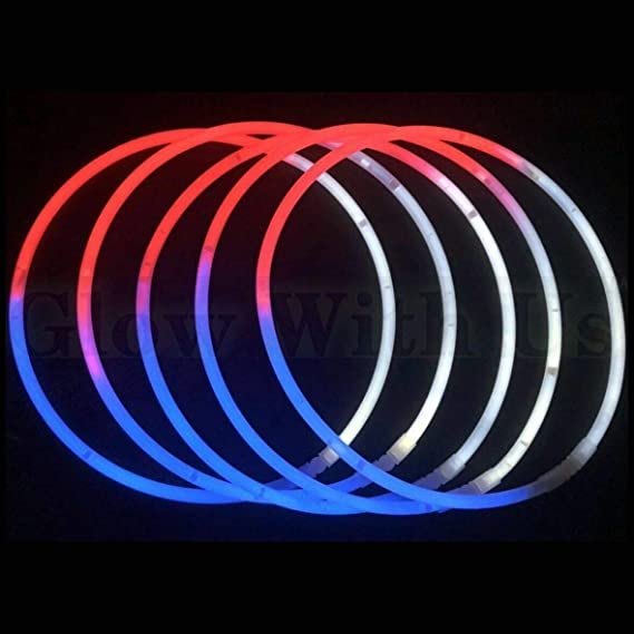 DirectGlow 22 inch TriColor Red White Blue Glow Stick Necklaces Glow Party Favors Kids Bulk Birthday Neon Decor Preattached Connectors