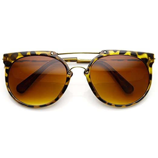 08f0420f7 Image Unavailable. Image not available for. Color: Retro Flat Top Crossbar  Double Bridge Round Aviator Sunglasses (Tortoise ...