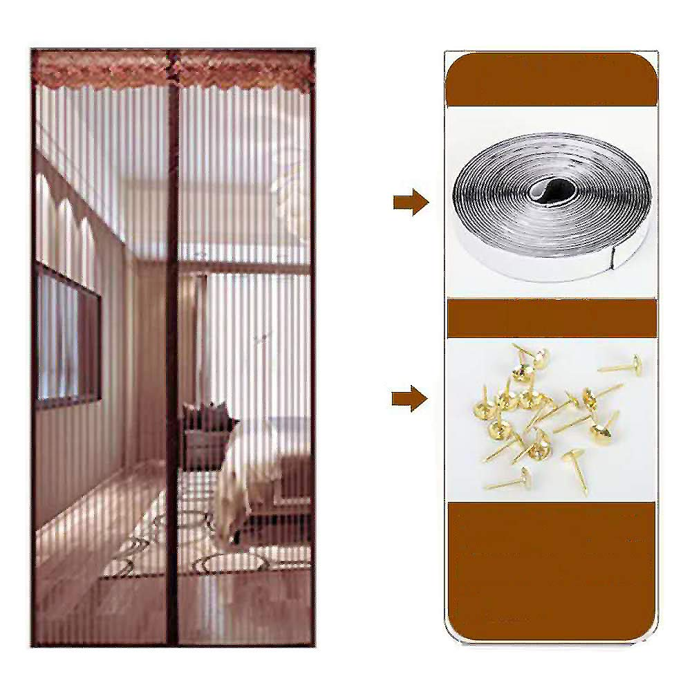 Encryption Full Frame Magic Sticker Magnetic Fly Screen Door, Heavy Duty Mesh Curtain Mosquito Curtain Home Toddler and Dog Friendly-Yellow 90x210cm(35x83inch)