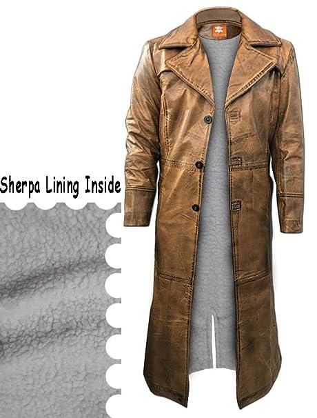 Amazon.com: Chaqueta de trinchera larga marrón, piel ...