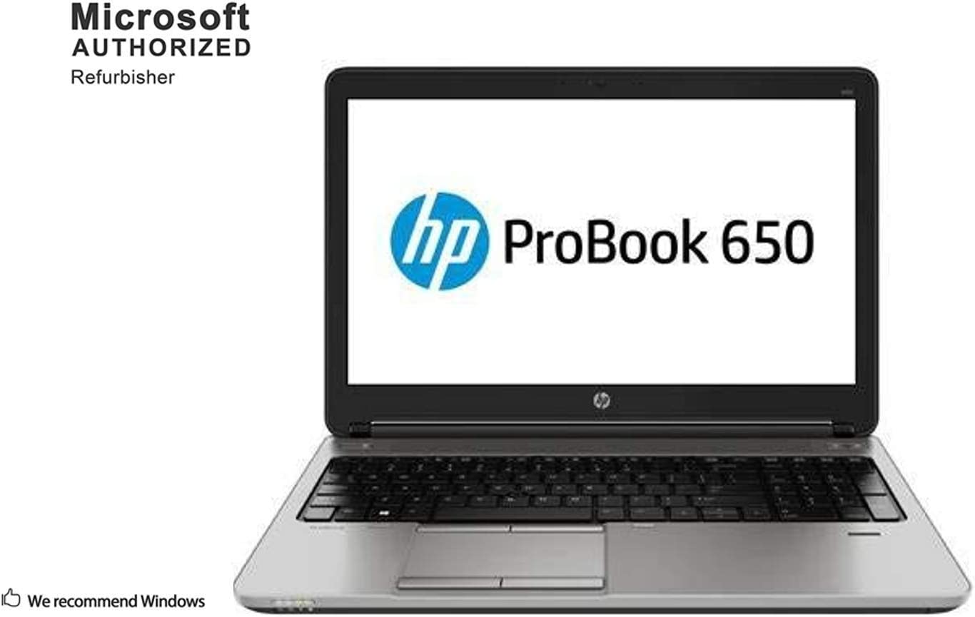 HP ProBook 650 G1 15.6 Inch Business Laptop PC, Intel Core i5 4300M up to 3.3GHz, 16 GB DDR3L, 256 GB SSD, WIFI, DVD, VGA, DP, Win 10 Pro 64 Bit-Multi-Language Supports English/Spanish/French(Renewed)