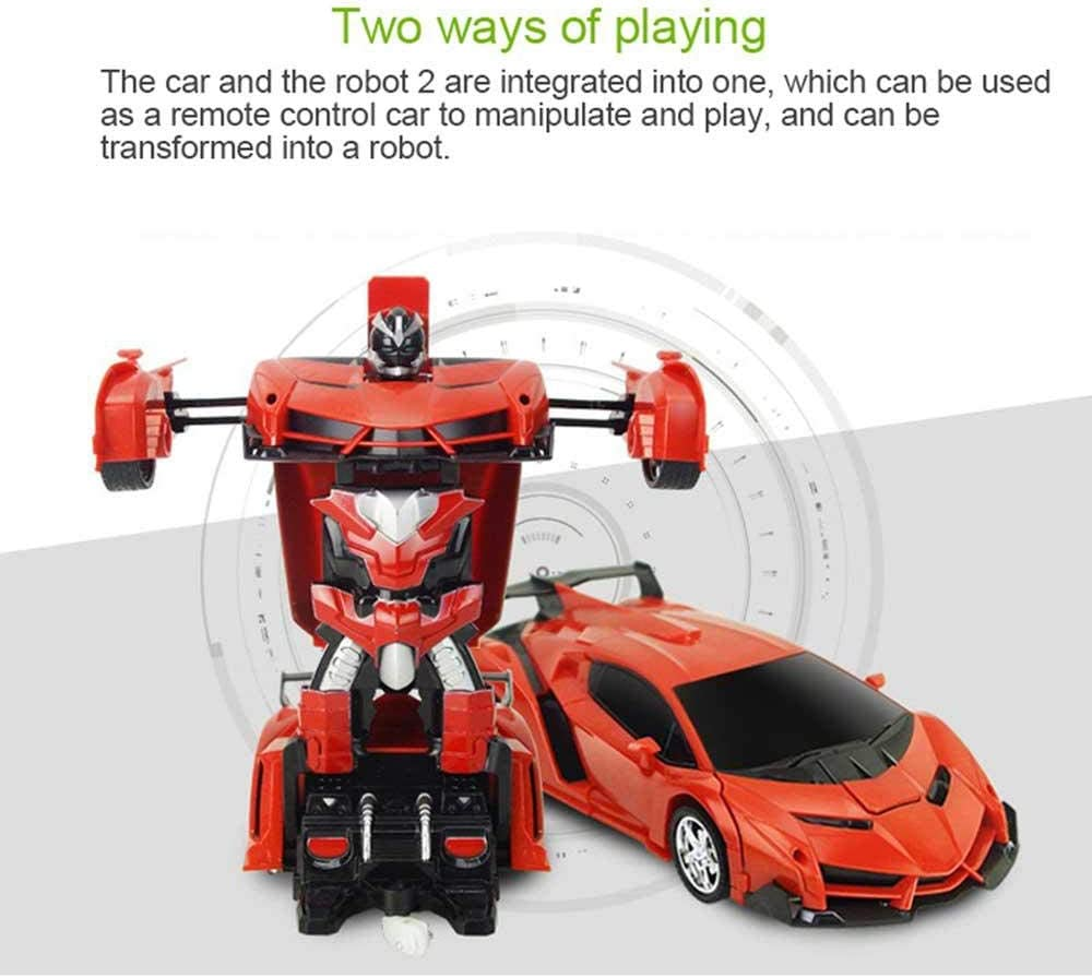 Robot Car Toy 2 in 1 5 Versions Rechargeable LED Light,Free Manipulation One-Button Deformation Into Robot Remote Control Car Transforming Robot AUOKER Remote Control Car