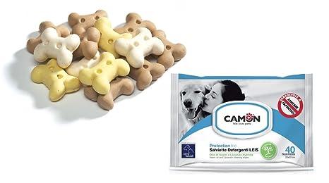 Camon Toallitas Aceite de Neem y lavanda & Galletas Bones a forma de hueso para perros
