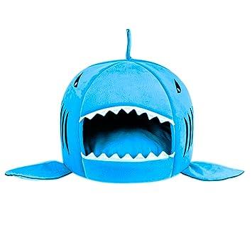 Aosbos tiburón Redondo casa con Mascota Cama Mat Perro Tienda de campaña Cama para Perro o Gato pequeño a Grande: Amazon.es: Productos para mascotas