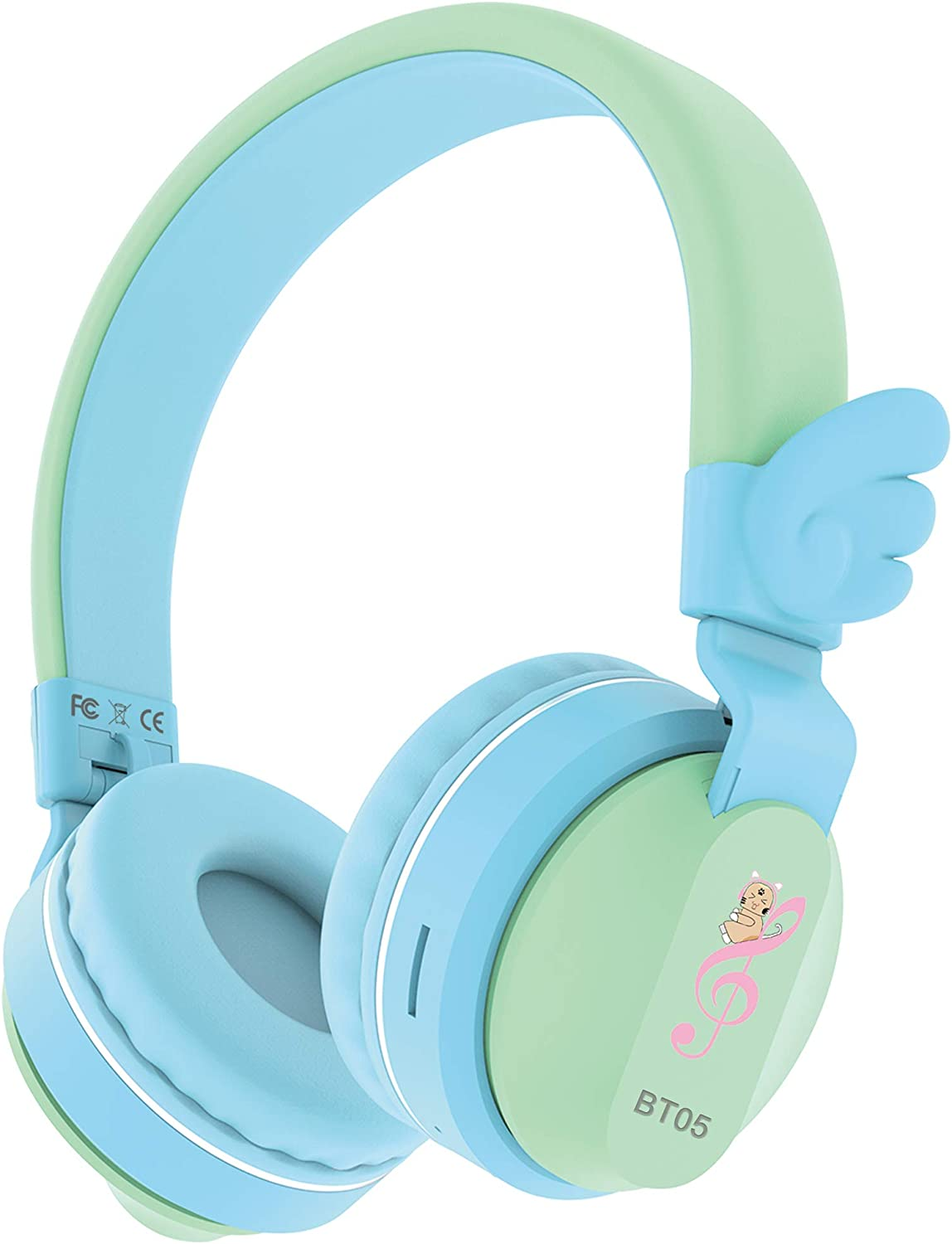 Riwbox BT05 Bluetooth Kids Headphones Wireless Foldable Headset Over Ear with Volume Limited and Mic/TF Card Compatible for iPad/iPhone/Tablet (Green&Blue)