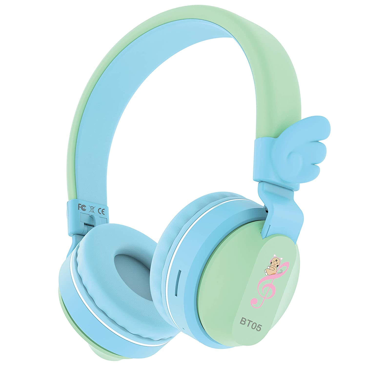 Riwbox BT05 Wings Kids Headphones Wireless Bluetooth Foldable Over Ear Headset with Volume Limited and Mic/TF Card Compatible for iPad/iPhone/Tablet (Green&Blue)