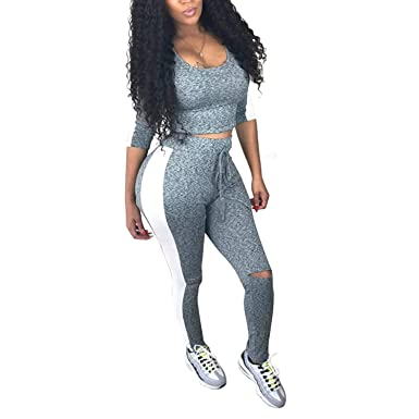 4f1cb32f Amazon.com: Women 2 Piece Outfits Tracksuit - Long Sleeve Sweatsuit Sweatpants  Jogging Suits: Clothing