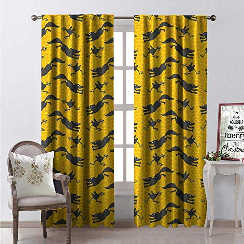 Hengshu Animal Print Room Darkening Wide Curtains Funny Pattern Crazily Running Foxes and Chickens Waterproof Window Curtain W72 x L108 Dark Taupe Grey Orange and Mustard