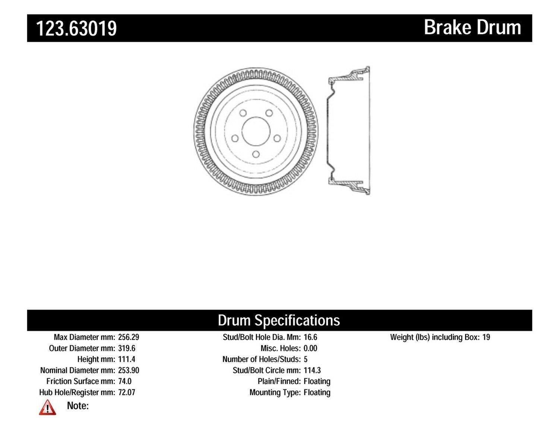 Centric Parts 123.63019 Brake Drum