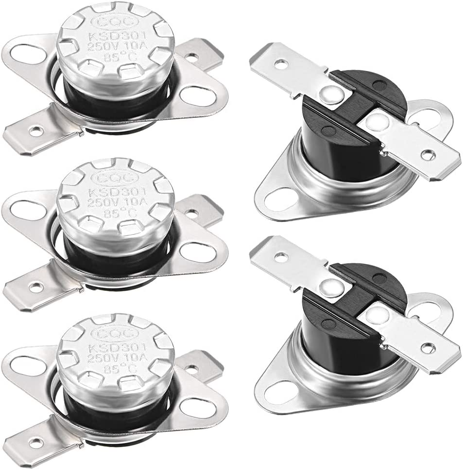 uxcell KSD301 Thermostat 40/°C 10A Normally Open N.0 Adjust Snap Disc Limit Control Switch Microwave Thermostat Thermal Switch 5pcs