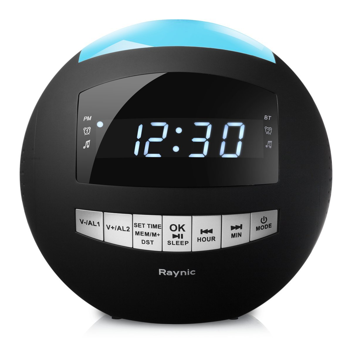 8-in-1 Bluetooth Alarm Clock Radio (Digital) Dual USB Charging Ports, FM Stereo, Dimmable LED Display, Nap & Sleep Timers, Snooze, Multi-Color Night Light (Black)