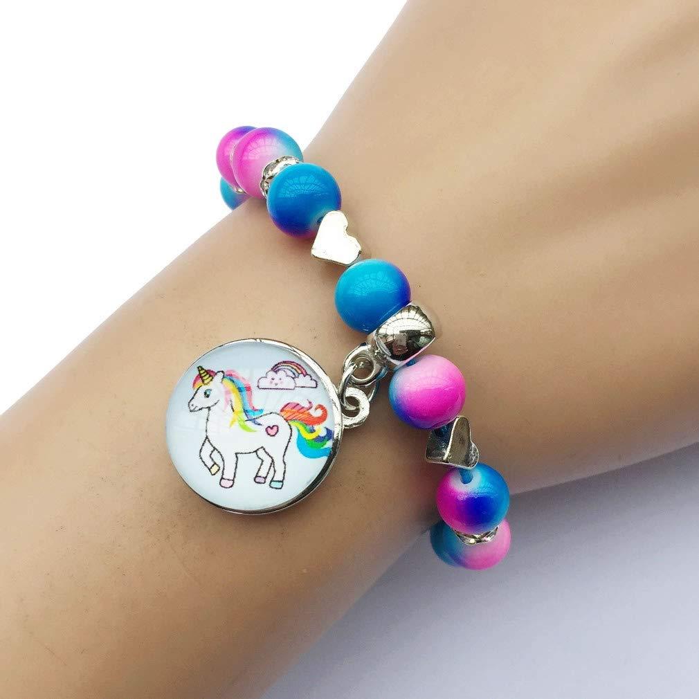 DOLON Glass Cabochon Cloudy Unicorn Snap Charm Bracelet Favors Fake Pearl Crystal Jewelry