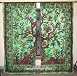 THE ART BOX Window Curtains Indian Window Drapes Set of 2 Tapestry Window Curtains Hanging Valances For Window Room Divider (Green Tree)
