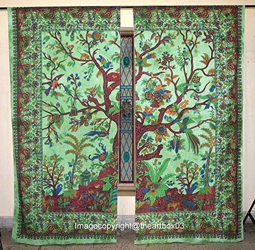 - THE ART BOX Window Curtains Indian Window Drapes Set of 2 Tapestry Window Curtains Hanging Valances for Window Room Divider (Multi Elephant) (Green Tree, Curtains Each Panel 84x27 Inch)