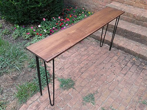 Beautiful honey brown poplar console table sofa table with black hairpin legs