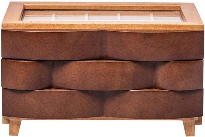 LIYANSNH Cajones de Madera Caja de joyería Cajas de Almacenamiento Cajas con Tapa de Vidrio Diseño de Tapa: Amazon.es: Hogar