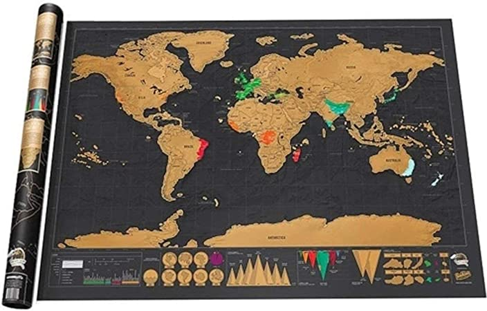 Versión de Lujo Negro Rasguño Mapa Papel raspado Viaje Huella Regalo Creativo pequeño con Tubo: Amazon.es: Hogar