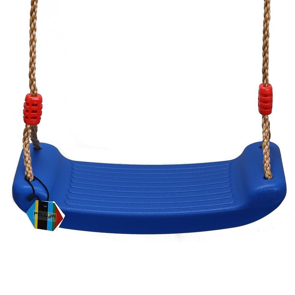 Pellor Balançoire en Plastique Siège avec Corde pour Enfant Chargé Maximum 100kg (Bleu (sans mousqueton)) SPRG06