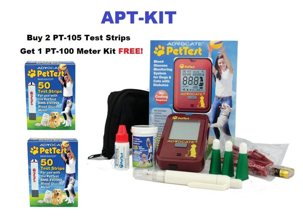 Pet Test Advocate 100 Blood Test Strips and Blood Glucose Meter Special Water Bowl for Both Cats and Dogs by Pet Test Advocate