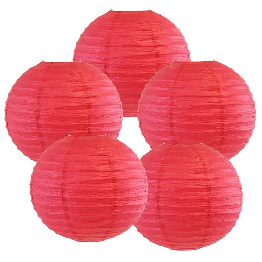 Just Artifacts ペーパーランタン5点セット - (6インチ - 24インチ) 18inch AMZ-RPL5-180058 B01CEX7F0I 18inch|フラミンゴ ピンク フラミンゴ ピンク 18inch