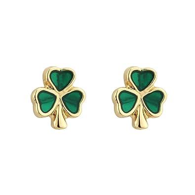 aca6c54c8ef70 Tara Shamrock Earrings Gold Plated Studs & Green Enamel Made in Ireland