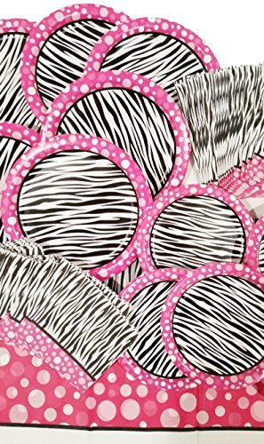 Pink Zebra Party Supply Pack 79 Piece - Buffet Dinner Plates - Desert Plates - Beverage Napkins - Buffet Napkins - Table Cloth