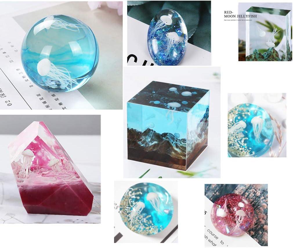 Taxiner 16 Pcs//Set Epoxy Filling Material Crystal Ocean Resin 3D Mini Jellyfish Modeling