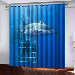 Shorping Window Darkening Curtains, Window Panels Curtains Living Room Curtains Great White Shark in Front of Diving Cage with Scuba a Divers Window Curtains for Bedroom 52X63 Inches, 2 Pc
