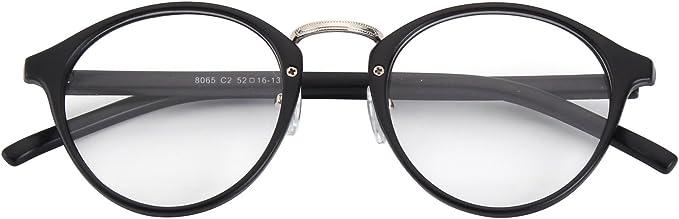 CGID CN65 Occhiali di Ispirazione Vintage con Montature in Corno Ponticello in Metallo P3 UV400 Lenti Chiare Unisex Uomo Donna