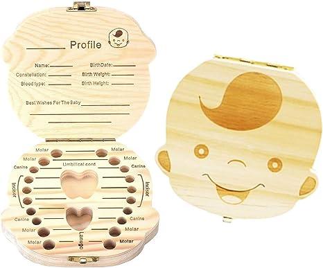 Caja de dientes de madera, soporte de dientes para niños, recuerdo ...