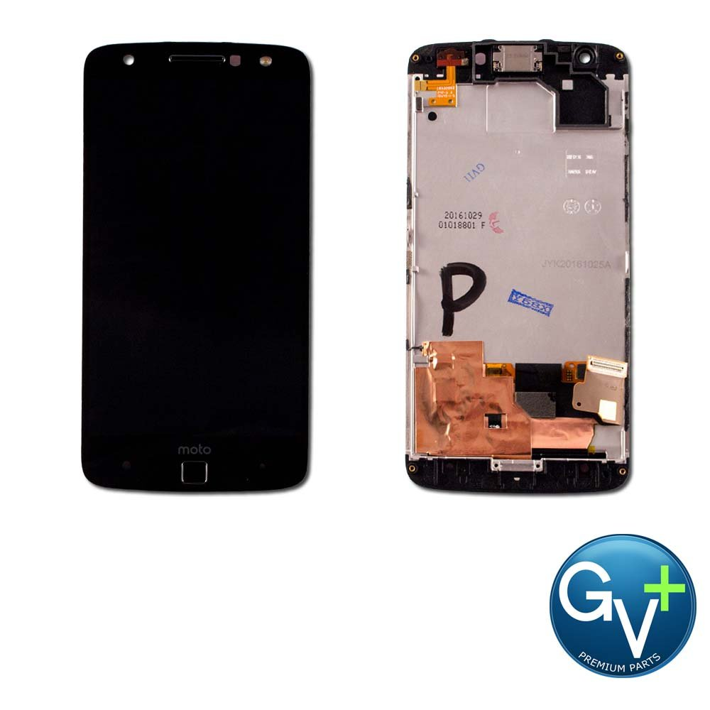 Group Vertical Replacement Screen Complete Frame AMOLED Digitizer Assembly Compatible with Motorola Moto Z Force (Black) (XT1650-02) (GV+ Performance)