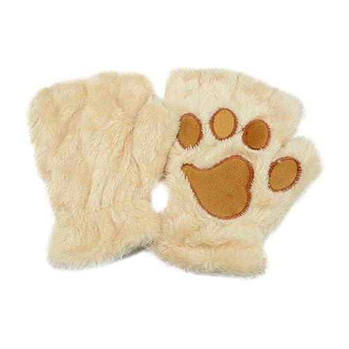 Tinksky Las mujeres de invierno lindo gato garra perro pata mitones de felpa cortos guantes sin dedo...