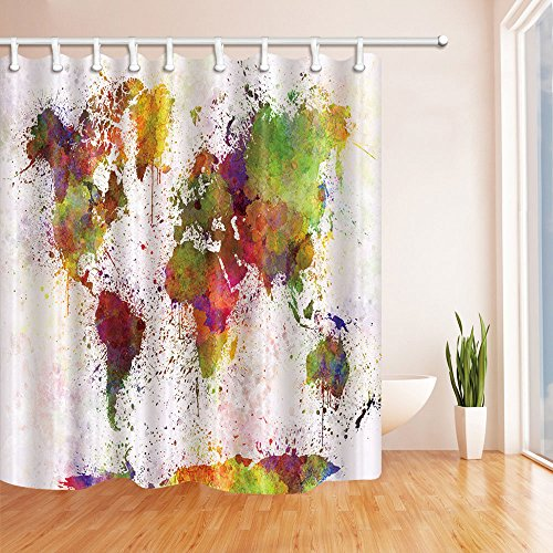 NYMB Urban Color World Map 69X70in Mildew Resistant Polyester Fabric Shower Curtain Christmas World Map
