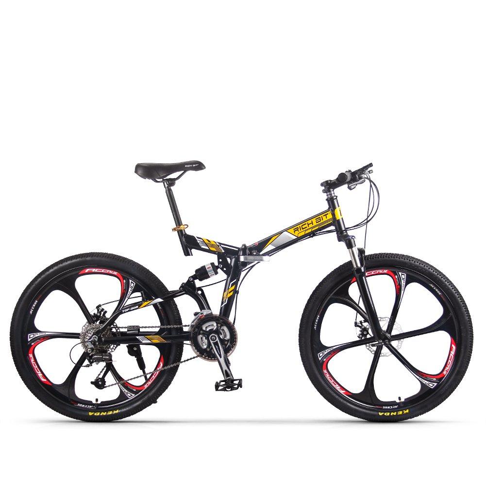 XHN 折りたたみマウンテンバイク シマノ27速 自転車26インチ 軽量 折りたたみ式アルミフレーム B079JDPKD4 イェロー イェロー