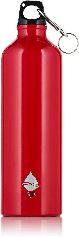 SJR 750ml Botellas de Agua de Aluminio con Mosquetón – Botella Agua Deporte Azul y Roja – Antigoteo – Sin BPA – para Gimnasio, Senderismo, Correr – Camping Accesorios – Botella Aluminio