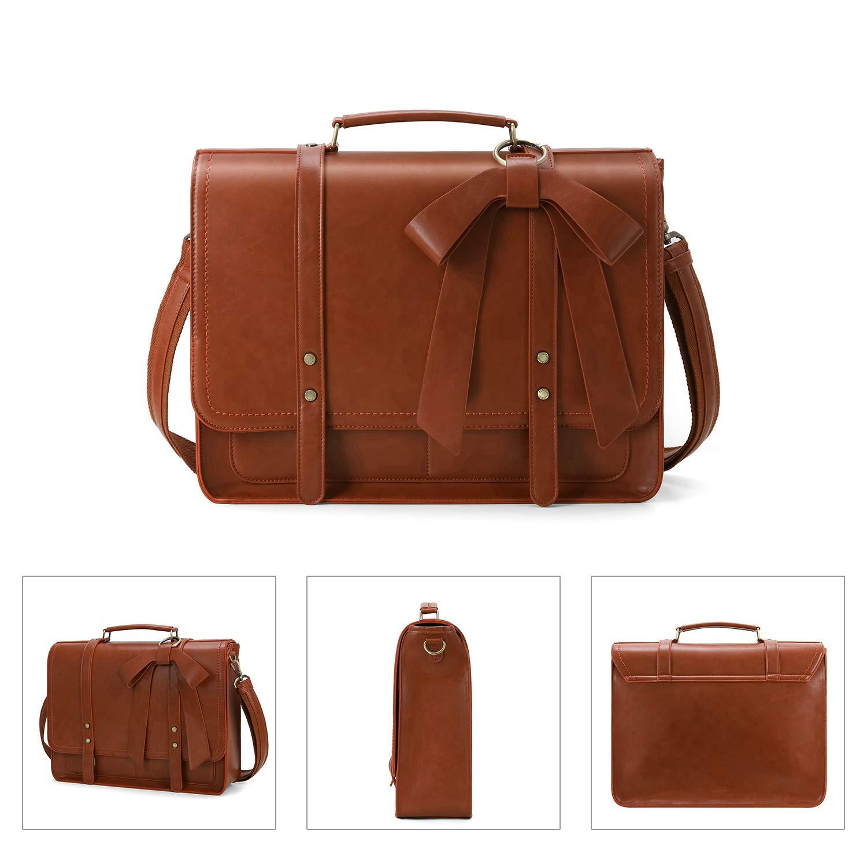 Black ECOSUSI Women Briefcase PU Leather Laptop Shoulder Satchel Computer Bag with Detachable Bow fits 15.6 inch Laptops