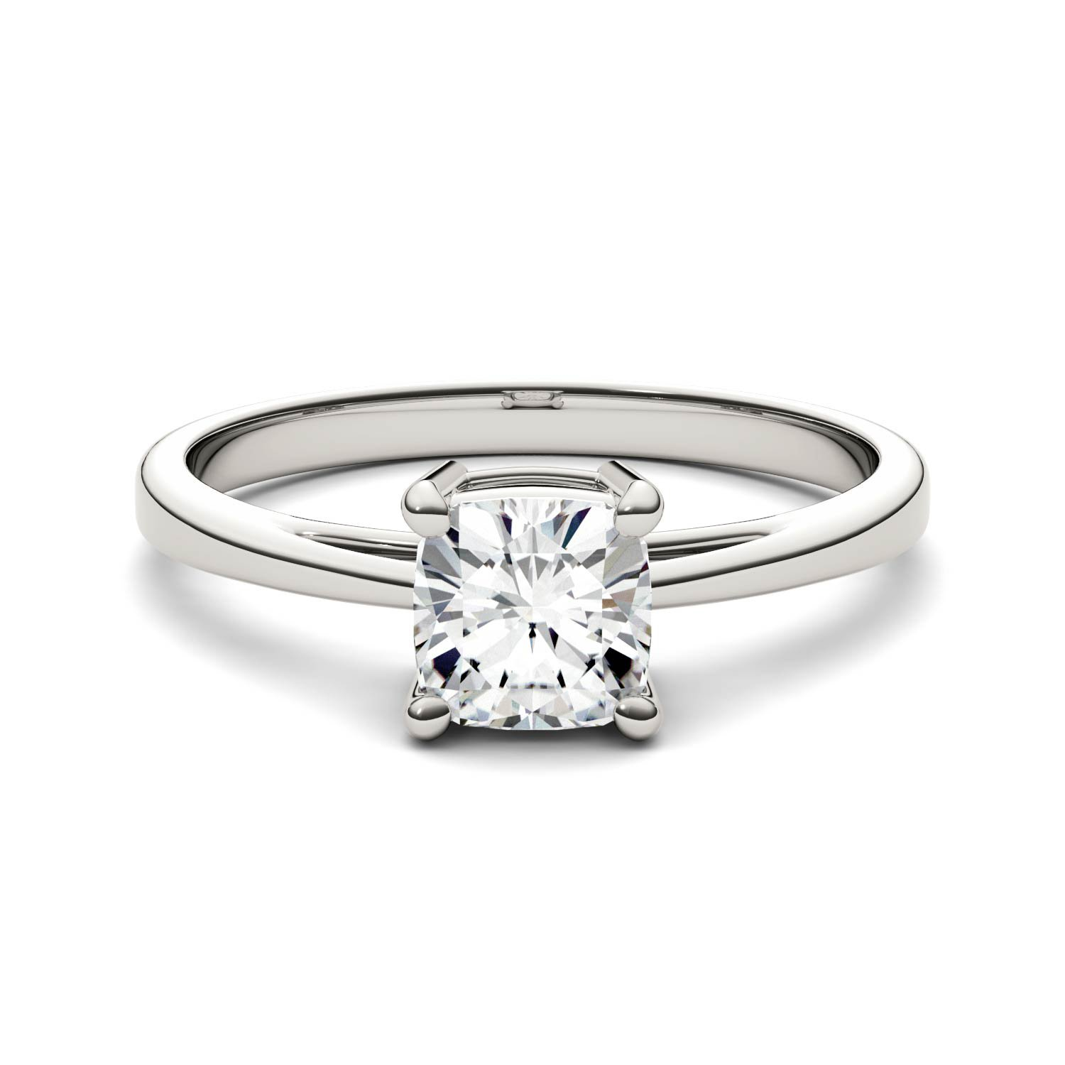 Forever One Cushion 6.0mm Moissanite Engagement Ring-size 7, 1.10ct DEW (G-H-I) By Charles & Colvard by Charles & Colvard