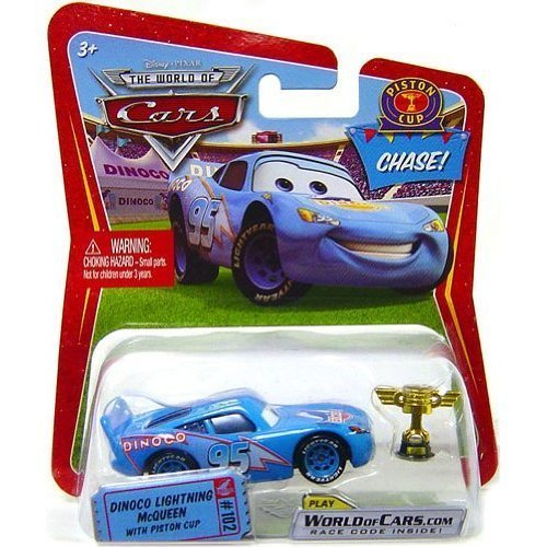 Piston Mcqueen Cup (Disney / Pixar CARS Movie 1:55 Die Cast Car Dinoco Lightning McQueen with Piston Cup Chase Piece! by Mattel)