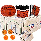 NBA Basketball Spalding Party Supplies Party Pack for 16 guests (Plates, Cups, Full Cutlery Set, Napkins, Table cover, and Basketball Poppers)