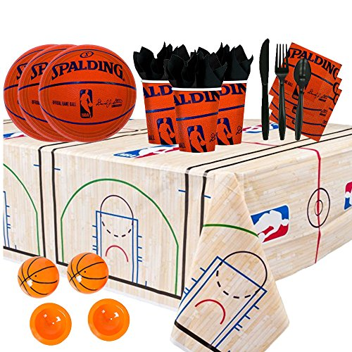 Official Nba Basketball Card (NBA Basketball Spalding Party Supplies Party Pack for 16 guests (Plates, Cups, Full Cutlery Set, Napkins, Table cover, and Basketball Poppers))