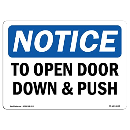 Letreros de Osha - para abrir la puerta hacia abajo y ...