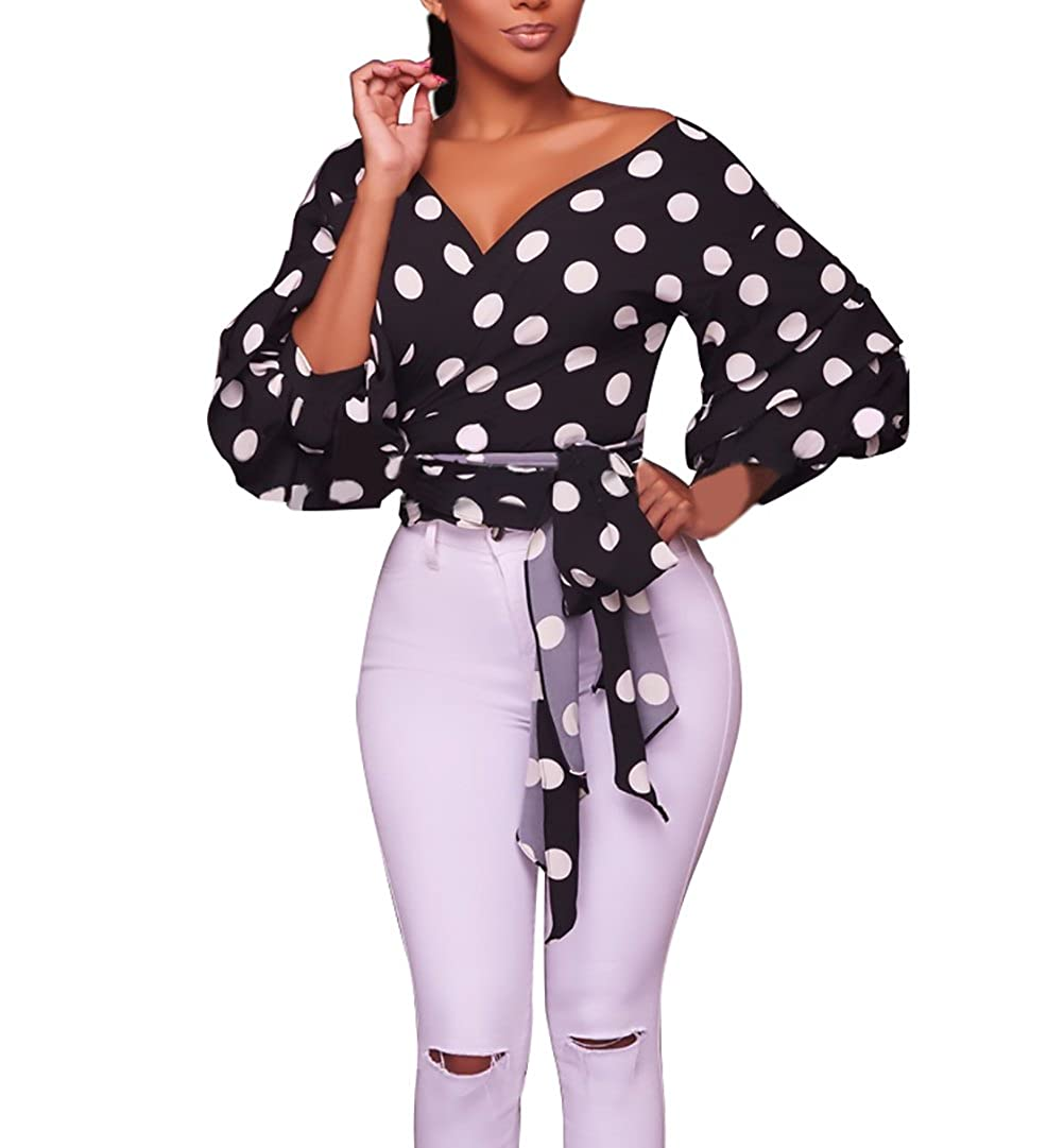 TALLA L. Tops Mujer Elegantes Vintage Manga Linterna Lunares Camisas Fiesta Classic Chic Manga Larga V Cuello Slim Fit Chic Primavera Camisa Blusas
