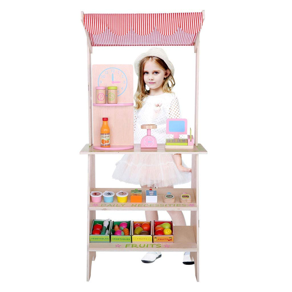 Food Shopping Cart Grocery Supermarket Stand Pretend Play, Wooden Simulation Portable Children's House House Sale Set