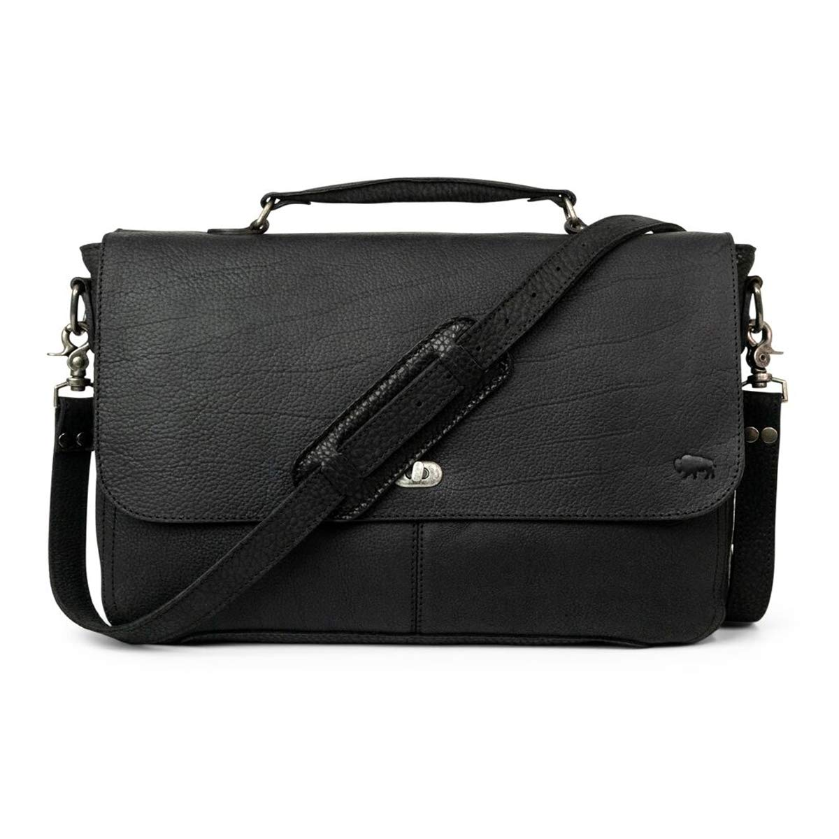 Full Grain Bison Leather Laptop Messenger Bag for Men | Ryder Reserve by Buffalo Jackson | Briefcase Fits 13'' 14'' 15'' Laptops | Made in North America | Black