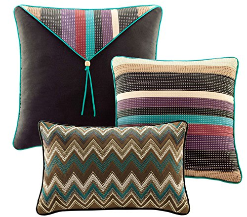 Southwest Turquoise Native American King Quilt, Shams & Toss Pillows (6 Piece Bed In A Bag) by Aztec
